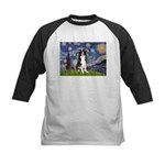 Starry Night Border Collie Kids Baseball Jersey