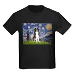 Starry Night Border Collie Kids Dark T-Shirt