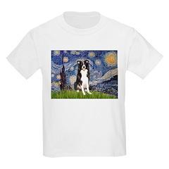 Starry Night Border Collie Kids Light T-Shirt