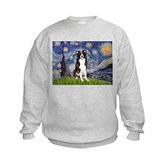 Starry Night Border Collie Kids Sweatshirt