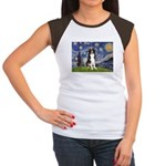 Starry Night Border Collie Women's Cap Sleeve T-Sh