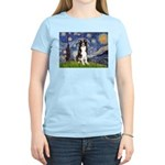 Starry Night Border Collie Women's Light T-Shirt