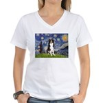 Starry Night Border Collie Women's V-Neck T-Shirt