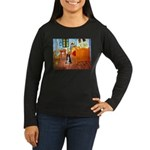 Room with Border Collie Women's Long Sleeve Dark T