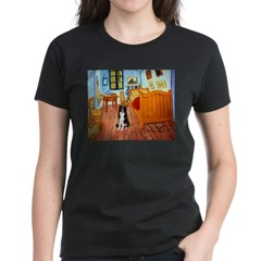 Room with Border Collie Women's Dark T-Shirt