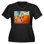 Room with Border Collie Women's Plus Size V-Neck D
