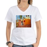 Room with Border Collie Women's V-Neck T-Shirt