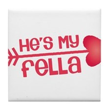 Cupid arrow right Hes my fella Tile Coaster