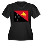 PNG flag Women's Plus Size V-Neck Dark T-Shirt