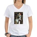 Ophelia & Border Collie Women's V-Neck T-Shirt