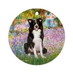 Garden & Border Collie Ornament (Round)