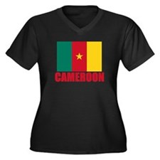 Cameroon Flag Women's Plus Size V-Neck Dark T-Shir