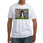 Lilies & Border Collie Fitted T-Shirt