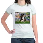 Lilies & Border Collie Jr. Ringer T-Shirt