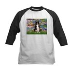 Lilies & Border Collie Kids Baseball Jersey