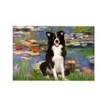Lilies & Border Collie Rectangle Magnet