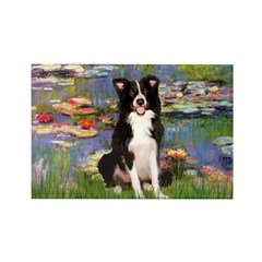 Lilies & Border Collie Rectangle Magnet (10 pack)