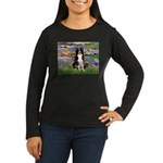 Lilies & Border Collie Women's Long Sleeve Dark T-