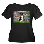 Lilies & Border Collie Women's Plus Size Scoop Nec