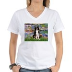 Lilies & Border Collie Women's V-Neck T-Shirt