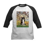 Spring & Border Collie Kids Baseball Jersey