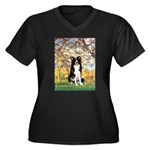 Spring & Border Collie Women's Plus Size V-Neck Da