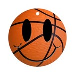 Basketball Smiley Ornament (Round)