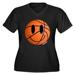 Basketball Smiley Women's Plus Size V-Neck Dark T-