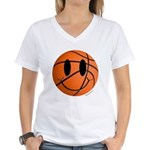 Basketball Smiley Women's V-Neck T-Shirt