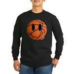 Basketball Smiley Long Sleeve Dark T-Shirt