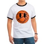 Basketball Smiley Ringer T