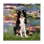 Lilies & Border Collie Tile Coaster