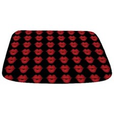 Red Lips On Black Background Bathmat