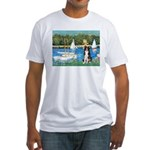 Sailboats & Border Collie Fitted T-Shirt
