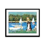 Sailboats & Border Collie Framed Panel Print