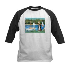 Sailboats & Border Collie Kids Baseball Jersey