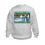Sailboats & Border Collie Kids Sweatshirt