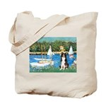 Sailboats & Border Collie Tote Bag