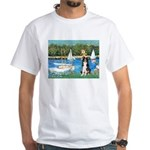 Sailboats & Border Collie White T-Shirt