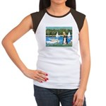 Sailboats & Border Collie Women's Cap Sleeve T-Shi