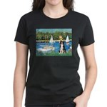 Sailboats & Border Collie Women's Dark T-Shirt