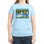 Sailboats & Border Collie Women's Light T-Shirt