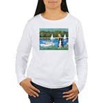 Sailboats & Border Collie Women's Long Sleeve T-Sh