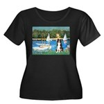 Sailboats & Border Collie Women's Plus Size Scoop