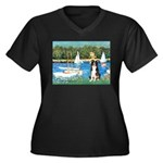 Sailboats & Border Collie Women's Plus Size V-Neck