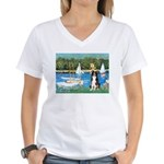 Sailboats & Border Collie Women's V-Neck T-Shirt