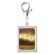 Golden Bitcoin Silver Portrait Charm