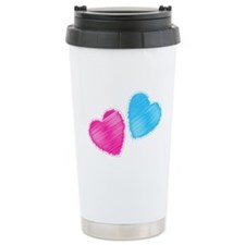 Two hearts blue and pink Travel Mug