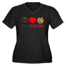 Peace Love Armenia Women's Plus Size V-Neck Dark T