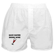 Save Water Drink Wine Boxer Shorts